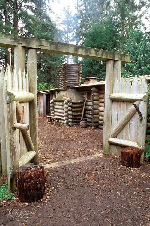 The entrance to Fort Clatsop (Lewis & Clark's 1805-1806 winter post), Fort Clatsop National Memorial, Astoria, Oregon