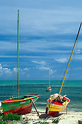 traditional fishing boats on beach<br /> Providenciales or Provo, Turks & Caicos <br /> Islands, Western Atlantic Ocean