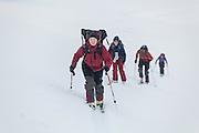 Anouk Vlug (l-r), Michelle Blade, Nate Stevens, and Kiya Riverman skin up Hallwylfjellet, Svalbard.