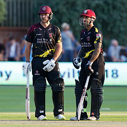 Somerset's Peter Trego with team-mate Corey Anderson<br /> <br /> Photographer Simon King/Replay Images<br /> <br /> Vitality Blast T20 - Round 1 - Somerset v Gloucestershire - Friday 6th July 2018 - Cooper Associates County Ground - Taunton<br /> <br /> World Copyright © Replay Images . All rights reserved. info@replayimages.co.uk - http://replayimages.co.uk
