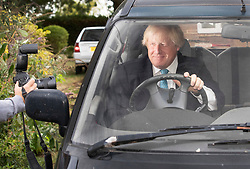 © Licensed to London News Pictures. 11/09/2018. Thame, UK. Boris Johnson is photographed as he leaves his Oxfordshire house. Last week it was announced that Boris Johnson and his wife Marina Wheeler are getting divorced. Photo credit: Peter Macdiarmid/LNP