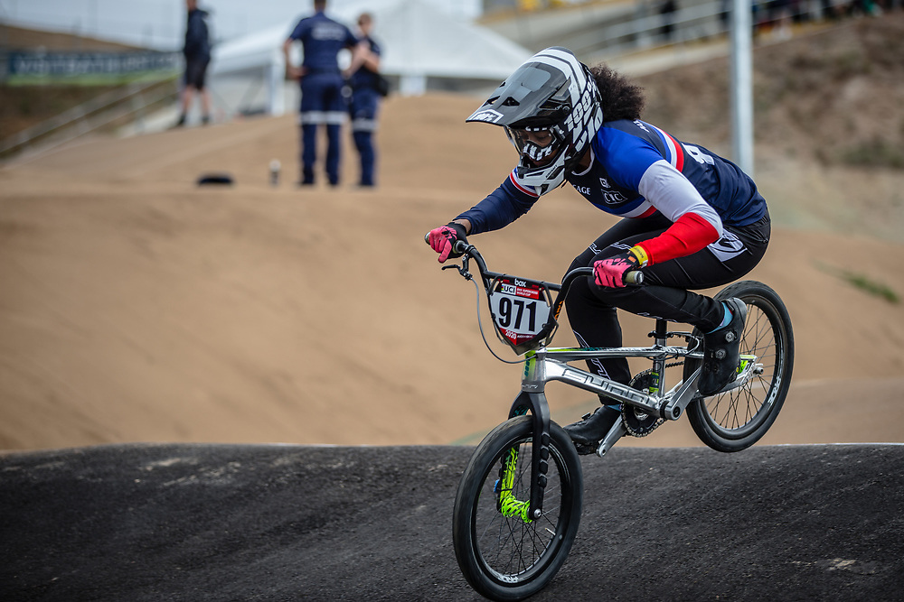 #971 (VALENTINO Manon) FRA at Round 3 of the 2020 UCI BMX Supercross World Cup in Bathurst, Australia.