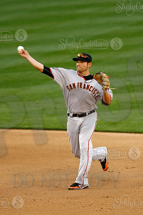 31 March 2011: Giants second basemen @21 Freddy Sanchez throws the ball as the San Francisco Giants were defeated 2-1 by the Los Angeles Dodgers  during a sold out game at Dodger Stadium in Los Angeles, California on opening day..***** Editorial Use Only *****