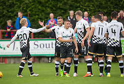 Inverness Caledonian Thistle's Alex Cooper (21) cele scoring their third goal. Brechin City 0 v 4 Inverness Caledonian Thistle, Scottish Championship game played 26/8/2017 at Brechin City's home ground Glebe Park.