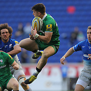 Alex Lexington, London Irish, catches a high kick during the London Irish Vs Saracens Aviva Premiership Rugby match, the first Premiership game to be played overseas at Red Bull Arena, Harrison, New Jersey. USA. 12th March 2016. Photo Tim Clayton