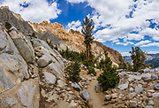 Piute Pass Trail below Loch Leven Lake, in John Muir Wilderness, Sierra Nevada, Inyo National Forest, Mono County, California, USA. Piute is 9.7 miles round trip with 2200 ft gain. Multiple overlapping photos were stitched to make this panorama.