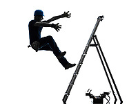 one manual worker man falling from ladder in silhouette on white background