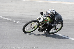 Moonshiner Josh Owens riding one of Billy Lane's 61 ci Harley-Davidson board track style motorcycle racer in the Sons of Speed Vintage Motorcycle Races at New Smyrina Speedway. New Smyrna Beach, USA. Saturday, March 9, 2019. Photography ©2019 Michael Lichter.