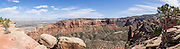 Wedding Canyon seen from Window Rock Trail, Colorado National Monument, near Grand Junction and Fruita, Colorado, USA. This desert land is high on the Colorado Plateau dotted with pinion and juniper forests. This panorama was stitched from 8 overlapping photos.