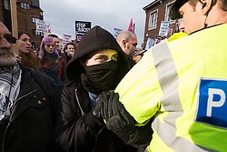 © Licensed to London News Pictures . 15/11/2014 . Kent , UK . A march by Britain First on High Street Rochester is blocked by protesters during the final weekend before the Rochester and Strood by-election . Photo credit : Joel Goodman/LNP