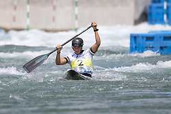 RIO DE JANEIRO, Sept. 30, 2018  Mallory Franklin of Great Britain competes during the women's canoe (C1) final at the 2018 ICF Canoe Slalom world championships in Rio de Janeiro, Brazil, on September 30, 2018. Mallory Franklin won the silver with 113.85 seconds. (Credit Image: © Li Ming/Xinhua via ZUMA Wire)