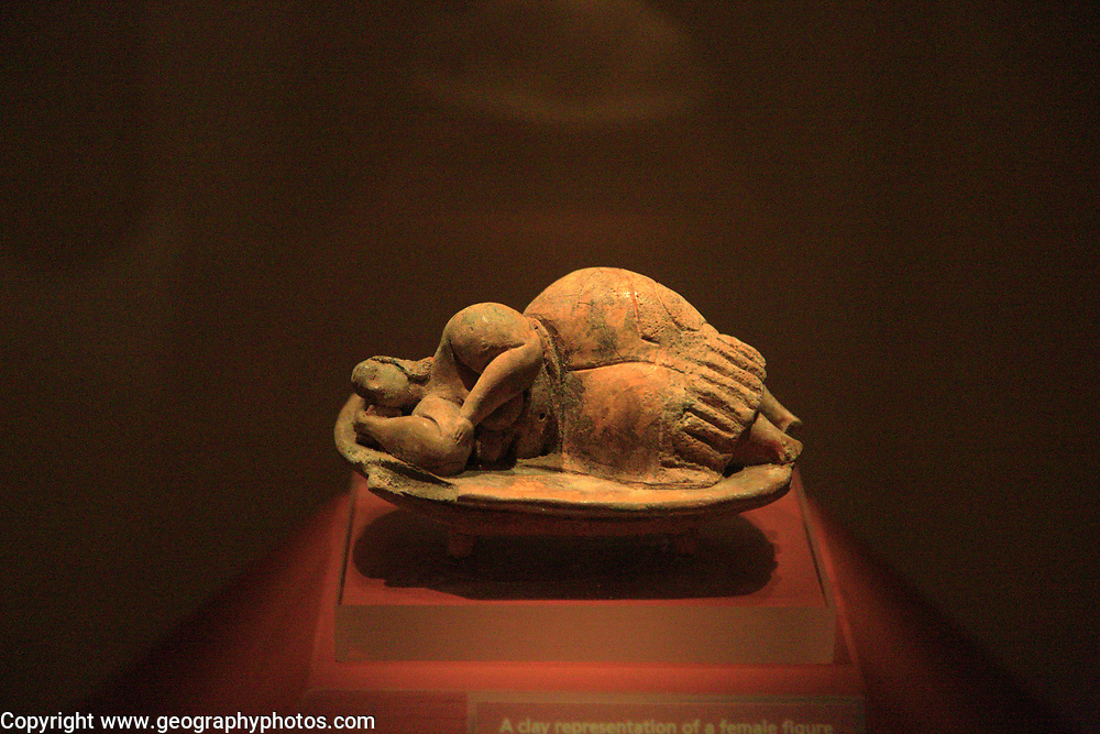 Sleeping Lady carved stone figure from Hal  Saflieni Hypogeum , National Museum of Archaeology, Valletta, Malta