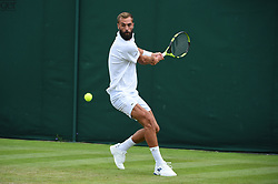 Benoit Paire (FRA) during his first round match at the 2019 Wimbledon Championships at the AELTC in London, UK on July 1, 2019. Photo by Corinne Dubreuil/ABACAPRESS.COM