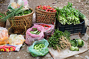 Vegetables produce for sale in Nobding farmers market, Bhutan.