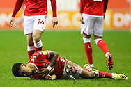 Charlton Athletic defender Ian Maatsen  goes down after being hit in the chest with the ball during the EFL Sky Bet League 1 match between Wigan Athletic and Charlton Athletic at the DW Stadium, Wigan, England on 2 March 2021.