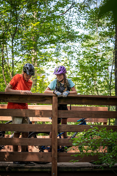Mountain biking at Luton Park Trails near Rockford, Michigan.