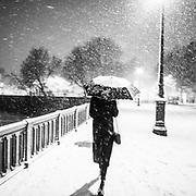 Paris, France. 7 Février 2018 - AM<br /> Neige dans la nuit du 6 au 7 Février à Paris