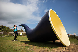 """@Licensed to London News Pictures 31/08/2017 Folkestone, Kent. """"Siren"""" by Marc Schmitz and Dolgor Ser-Od on show during Folkestone Triennial 2017. Folkestone Triennial is the flagship project of the Creative Foundation, an independant arts charity enabling the regeneration of the seaside town of Folkestone in Kent through creative activity. Photo credit: Manu Palomeque/LNP"""