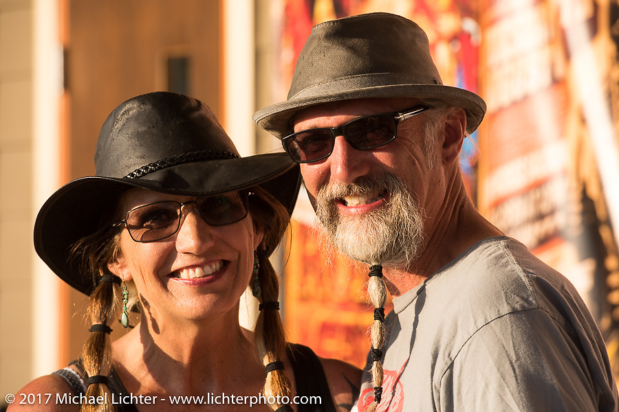 Debi and Reed Holmes at the Iron Horse Saloon during the annual Sturgis Black Hills Motorcycle Rally.  SD, USA. Monday August 7, 2017. Photography ©2017 Michael Lichter.