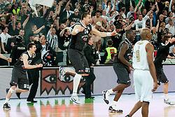 Rasko Katic of Partizan celebrates victory during final match of Basketball NLB League at Final Four tournament between KK Union Olimpija (SLO) and Partizan Belgrade (SRB), on April 21, 2011 at SRC Stozice, Ljubljana, Slovenia. (Photo By Matic Klansek Velej / Sportida.com)