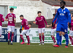 06MAR21 Arbroath's Michael McKenna celebrates after scoring their second goal from a penalty. Arbroath 2 v 4 Queen of the South, Scottish Championship played 6/3/2021 at Arbroath's home ground, Gayfield Park.