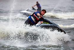 July 18, 2017 - Shenyan, Shenyan, China - Shenyang, CHINA-July 18 2017: (EDITORIAL USE ONLY. CHINA OUT) A citizen motorboats on Hunhe River in Shenyang, northeast China's Liaoning Province, July 18th, 2017. (Credit Image: © SIPA Asia via ZUMA Wire)