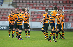 Alloa Athletic's players after Dunfermline's missed penalty. Dunfermline 2 v 2 Alloa Athletic. Alloa win on penalties. Irn Bru cup game played 13/10/2018 at Dunfermline's home ground, East End Park.
