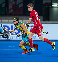 BHUBANESWAR, INDIA - Jake Whetton (Aus) with Liam Sanford (Eng)   , England v Australia for the bronze medal during the Odisha World Cup Hockey for men  in the Kalinga Stadion.   COPYRIGHT KOEN SUYK