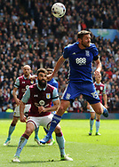 Lukas Jutkiewicz of Birmingham battles with Mile Jedinak of Aston Villa.  EFL Skybet championship match, Aston Villa v Birmingham city at Villa Park in Birmingham, The Midlands on Sunday 23rd April 2017.<br /> pic by Bradley Collyer, Andrew Orchard sports photography.
