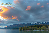 Sunset clouds over Whitefish Lake in Whitefish, Montana, USA
