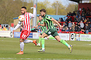 Jake Mulraney midfielder for Stevenage FC (29) shields the ball from George Francomb midfielder for AFC Wimbledon (7) during the Sky Bet League 2 match between Stevenage and AFC Wimbledon at the Lamex Stadium, Stevenage, England on 30 April 2016. Photo by Stuart Butcher.