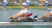 Munich, GERMANY, 02.09.2007,   A Final, GER W4X, stroke Stephanie SCHILLER,  at the 2007 World Rowing Championships, taking place on the  Munich Olympic Regatta Course, Bavaria. [Mandatory Credit. Peter Spurrier/Intersport Images]. , Rowing Course, Olympic Regatta Rowing Course, Munich, GERMANY