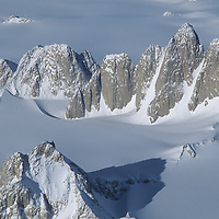 ANTARCTICA. Organ Pipe Peaks in Gothic Mountains, a subrange of Queen Maud Mountains, in the vast Trans-Antarctic Mountains. Sanctuary Glacier background.