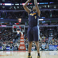 26 March 2012: Denver Nuggets power forward Al Harrington (7) takes a jumpshot during the Denver Nuggets 108-91 victory over the Chicago Bulls at the United Center, Chicago, Illinois, USA. NOTE TO USER: User expressly acknowledges and agrees that, by downloading and or using this photograph, User is consenting to the terms and conditions of the Getty Images License Agreement. Mandatory Credit: 2012 NBAE (Photo by Chris Elise/NBAE via Getty Images)