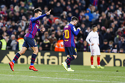 January 30, 2019 - Barcelona, Spain - FC Barcelona midfielder Philippe Coutinho (7) celebrates scoring the goal during the match FC Barcelona v Sevilla CF, for the round of 8, second leg of the Copa del Rey played at Camp Nou  on 30th January 2019 in Barcelona, Spain. (Credit Image: © Mikel Trigueros/NurPhoto via ZUMA Press)