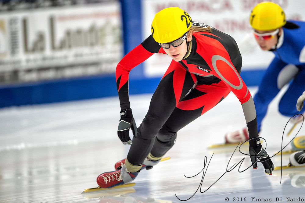 March 18, 2016 - Verona, WI - Hannah Bosman, skater number 282 competes in US Speedskating Short Track Age Group Nationals and AmCup Final held at the Verona Ice Arena.