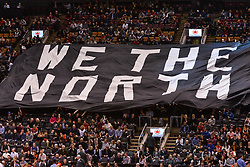 January 11, 2019 - Toronto, Ontario, Canada - Fans hold big banner ''We the north'' before the Toronto Raptors vs Brooklyn Nets NBA regular season game at Scotiabank Arena on January 11, 2019, in Toronto, Canada (Toronto Raptors win 122-105) (Credit Image: © Anatoliy Cherkasov/NurPhoto via ZUMA Press)