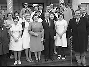 Image of Fianna Fáil leader Charles Haughey touring West Cork during his 1982 election campaign...04/02/1982.02/04/82.4th February 1982..Picture of Health:..Charles Haughey surrounded by staff on the steps of Clonakilty County Hospital...