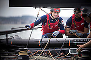 Sir Ben Ainslie at the helm of his AC45 foiling catamaran Land Rover BAR in Portsmouth at the start of the America's Cup World Series which runs until Sunday. <br /> The world's oldest sporting trophy has not been contested in British waters until now.<br /> Ainslie's team hope to wrestle it back from the current holders Oracle Team USA.<br /> Picture date: Wednesday July 2, 2014.<br /> Photograph by Christopher Ison ©<br /> 07544044177<br /> chris@christopherison.com<br /> www.christopherison.com