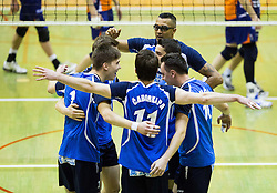 Players of Salonit celebrate during volleyball match between ACH Volley   and Salonit Anhovo in Final of Slovenian Cup 2014/15, on January 17, 2015 in Sempeter, Slovenia. Photo by Vid Ponikvar / Sportida