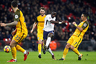 Moussa Sissoko of Tottenham Hotspur (c) takes a shot at goal. Premier league match, Tottenham Hotspur v Brighton & Hove Albion at Wembley Stadium in London on Wednesday 13th December 2017.<br /> pic by Steffan Bowen, Andrew Orchard sports photography.