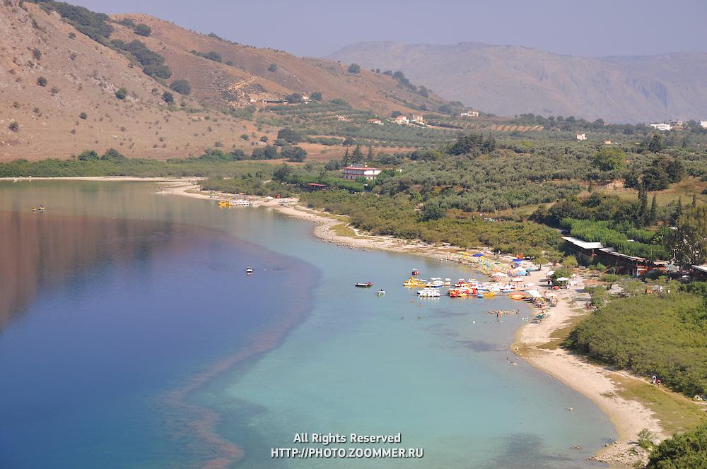 Crete lake Kournas beach view