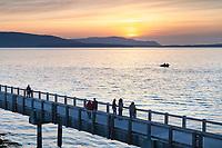 Taylor Dock Boardwalk at sunset, Boulevard Park Bellingham Washington