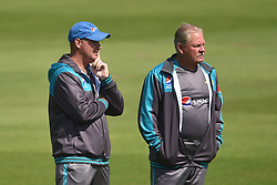 Pakistan coach Mickey Arthur (left) and fielding coach Steve Rixon during the nets session at Cardiff Wales Stadium.