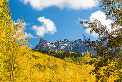Turret Ridge from the very yellow Owl Creek Pass road.   This is in the San Juan Mountains of southwestern Colorado.