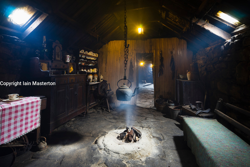 Interior of the Arnol Black House Museum, Arnol, Isle of Lewis, Outer Hebrides, Scotland, Europe
