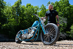 Brock Bridges with his custom Shovelhead at the Tennessee Motorcycles and Music Revival at Loretta Lynn's Ranch. Hurricane Mills, TN, USA. Thursday, May 20, 2021. Photography ©2021 Michael Lichter.