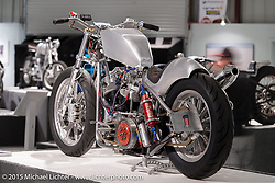 """Dale Yamada's custom Harley-Davidson Shovelhead in Michael Lichter's Motorcycles as Art annual exhibition titled """"The Naked Truth"""" at the Buffalo Chip Gallery during the 75th Annual Sturgis Black Hills Motorcycle Rally.  SD, USA.  August 4, 2015.  Photography ©2015 Michael Lichter."""