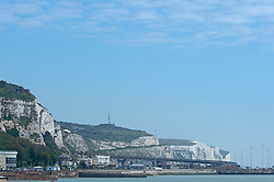 © Licensed to London News Pictures 29/05/2021. Dover, UK. A blue sky above the white cliffs of Dover, Kent. People out and about in Dover enjoying the warm bank holiday weekend weather. Photo credit:Grant Falvey/LNP