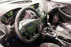 CHARLOTTE, NC, USA - November 11, 2015: Ford Focus ST on display during the 2015 Charlotte International Auto Show at the Charlotte Convention Center in downtown Charlotte.